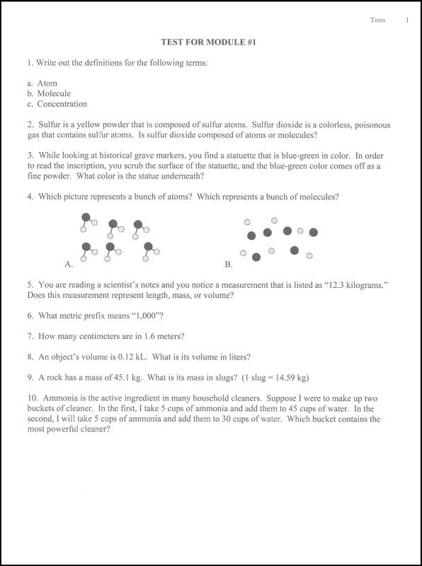 exploring creation with chemistry test answers