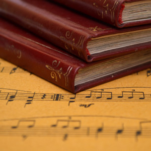 Music sheet and old books