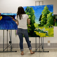 Central Dauphin East HighSchool art student Angee Gorokhova paints in the hallway during her Drawing and Painting III class.   christine Baker, The Patriot-NewsCentral Dauphin Eat HighSchool art students.   Christine Baker, The Patriot-News